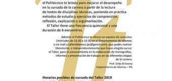 Taller de Textos 2019 para estudiantes del Ciclo Terciario