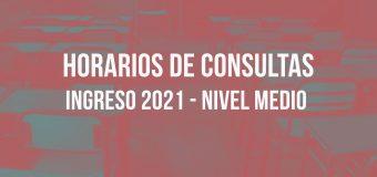 Horarios de Consultas INGRESO 2021 – NIVEL MEDIO