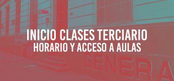 Inicio Clases Terciario – Horario y Acceso a Aulas